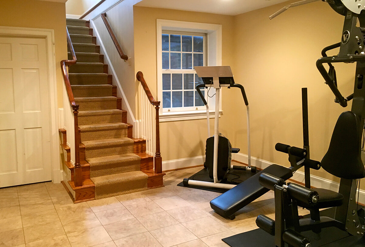 basement exercise room with full sized window