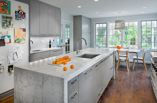 Cool Gray Waterfall Marble Kitchen Remodel