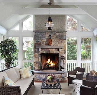 Porch Stone Fireplace
