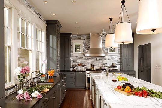 Fabulous Gray and Marble Kitchen