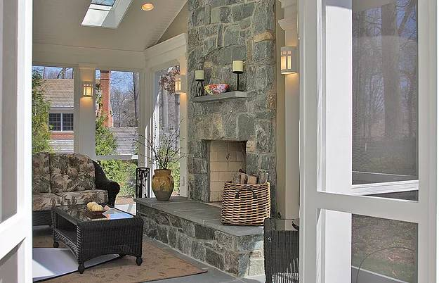 Porch Addition with Stone Fireplace