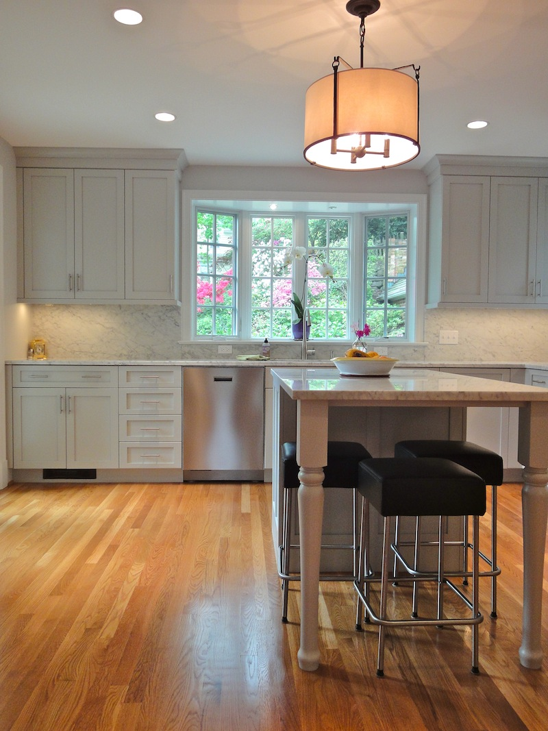 chevy chase kitchen design shows soft gray cabinet and wall colors