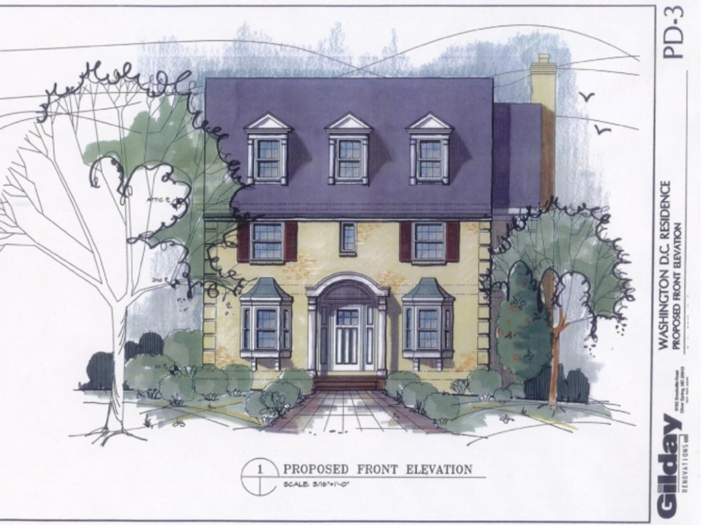 architect's rendering of home remodeling plan