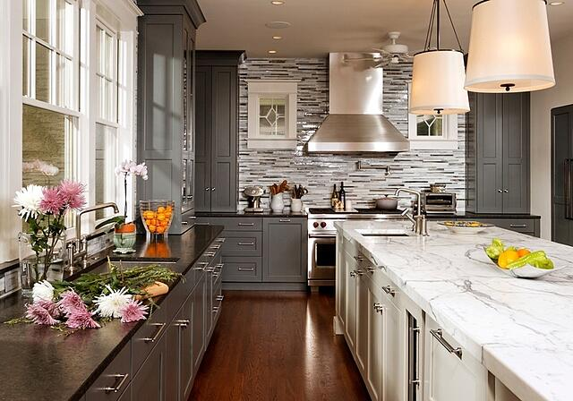 cleveland park kitchen design with gray perimeter cabinets and white island cabinets by Gilday Renovations