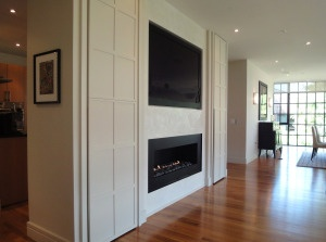 design build project completion of contemporary style gas fireplace