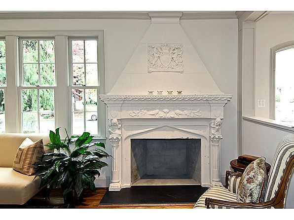 home premodeling preserves original plaster fireplace surround
