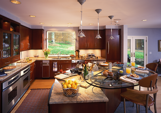 kitchen remodeling with tempered glass countertop