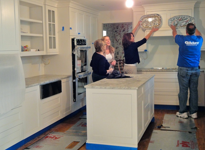 finalizing details of a design build kitchen remodeling project by Gilday Renovations