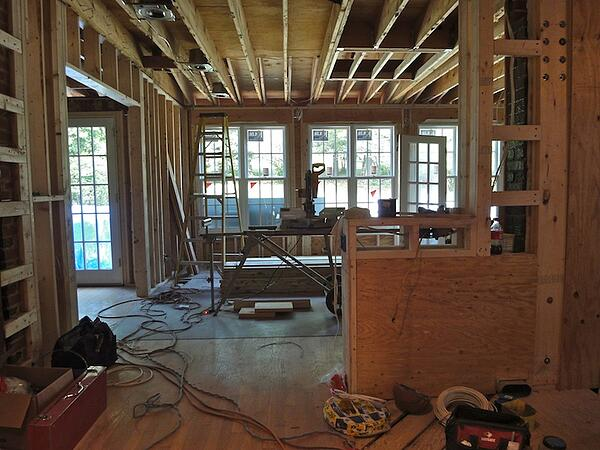 the framing phase of a home addition project