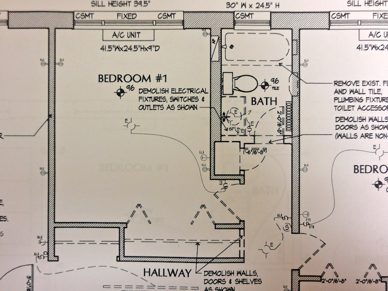 architectural drawing of condo bath remodel