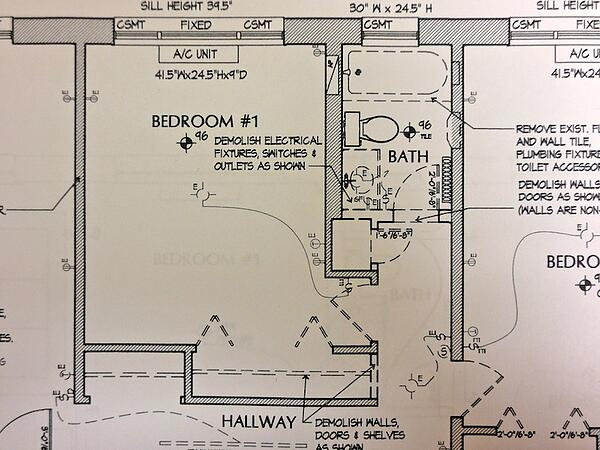 architectural drawing for condo bathroom remodel