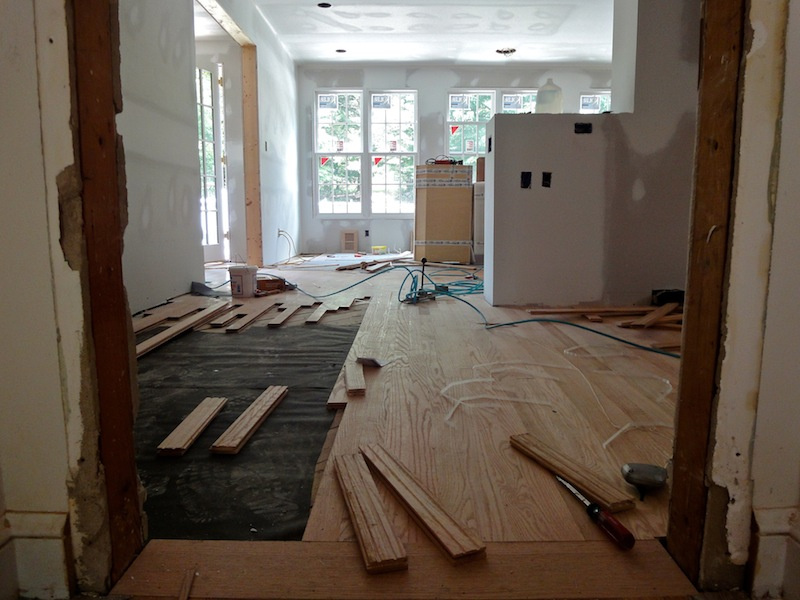 drywall phase of home addition construction