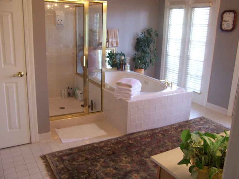 dated 80's master bathroom BEFORE remodeling