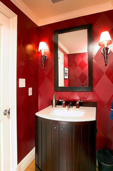 Kalorama DC half bath remodel with Harlequin patterned faux wall painting
