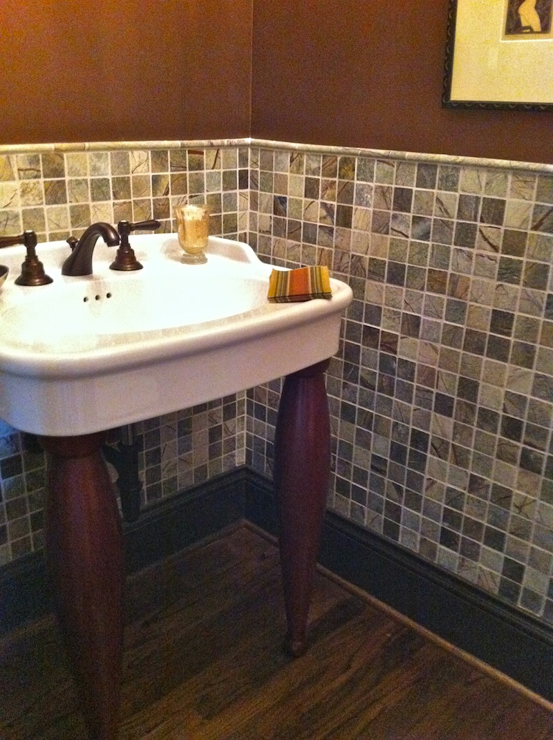 powder room bath remodel in chevy chase