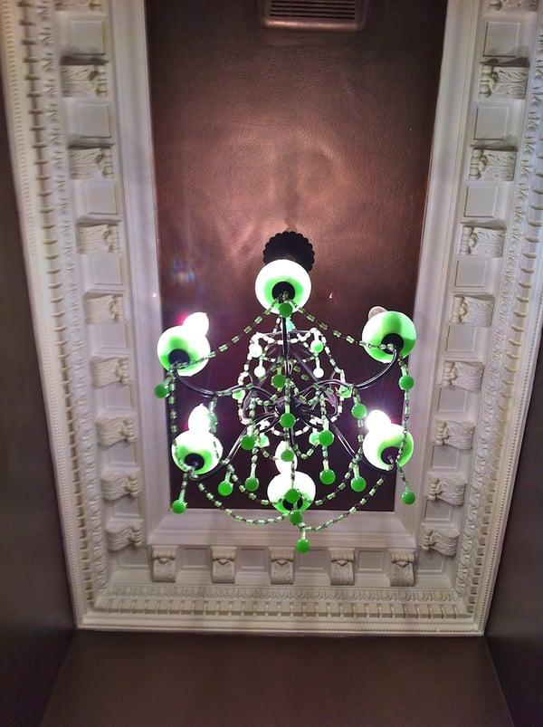 ornate ceiling in small bathroom
