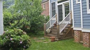 BEFORE RENOVATION: steep, generic steps to backyard