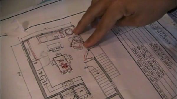 kitchen design plan showings designers mark ups