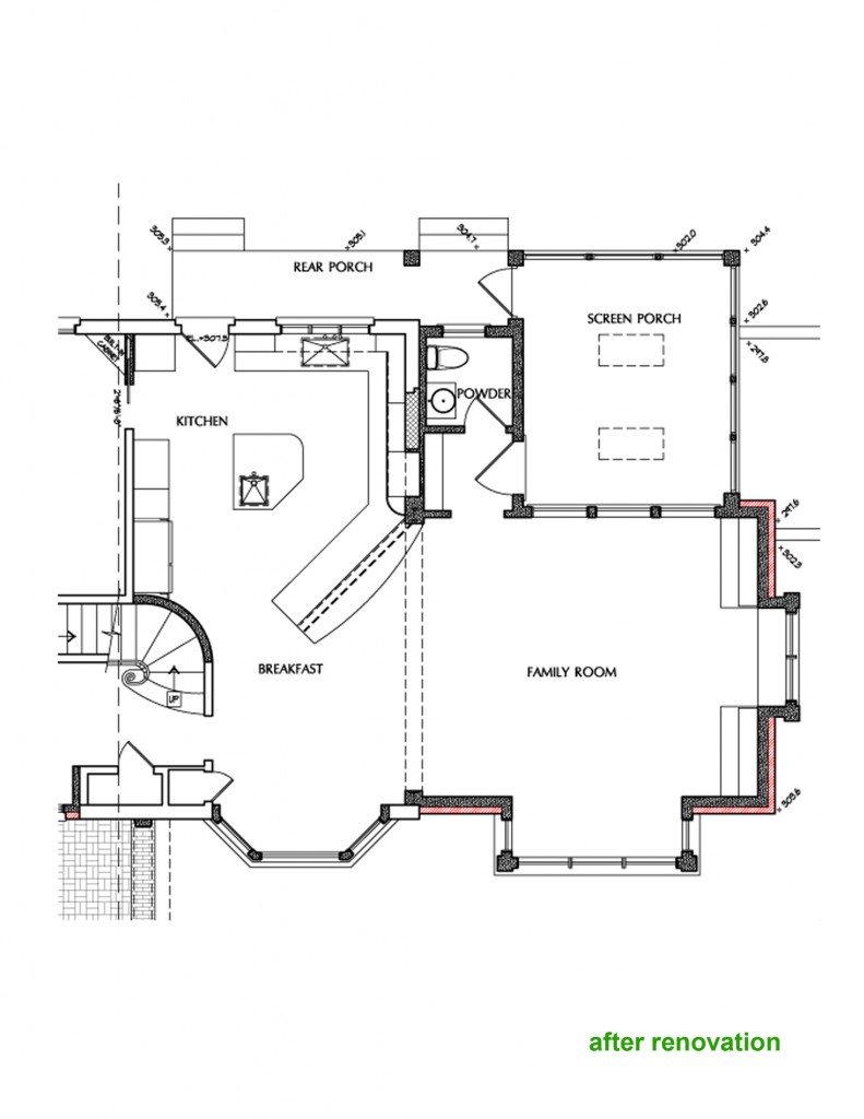 G-shaped kitchen design layout in Cleveland Park DC residence