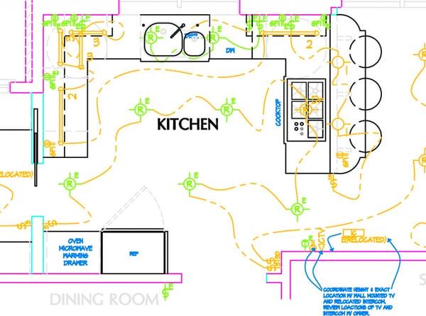 U-shaped kitchen design layout in Potomac residence