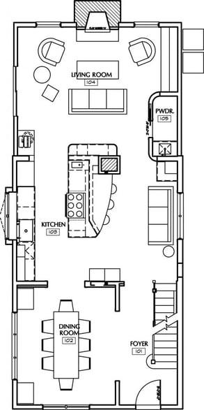 an open plan galley kitchen design
