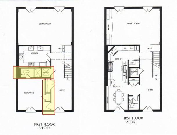 floor plans before/after kitchen renovation