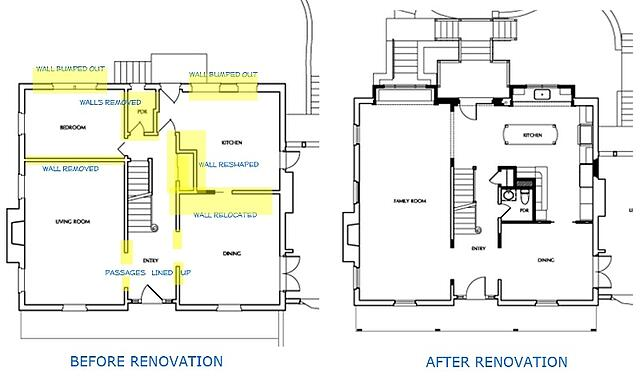 floorplan before and after interior renovation
