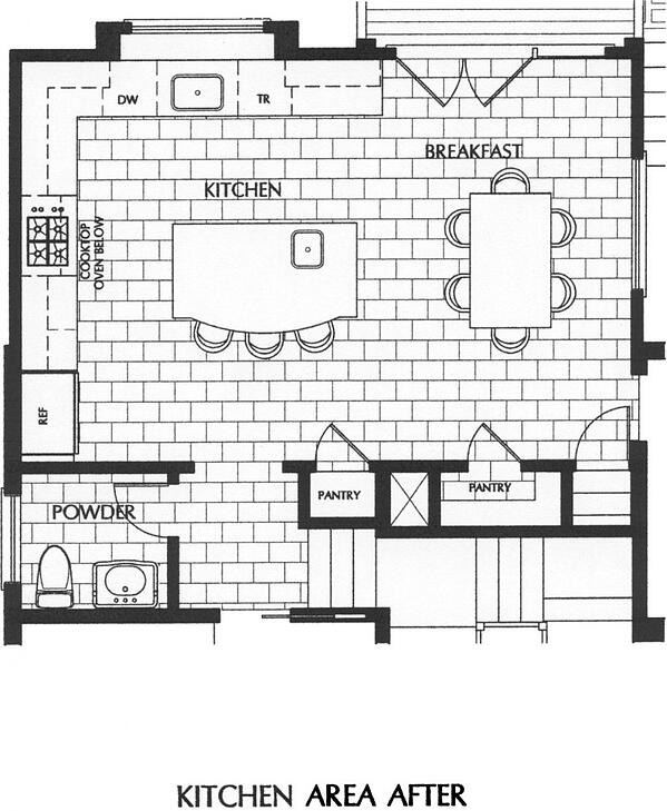 L-shaped kitchen design layout for Rockville residence