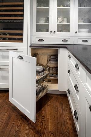 a floating corner cabinet door
