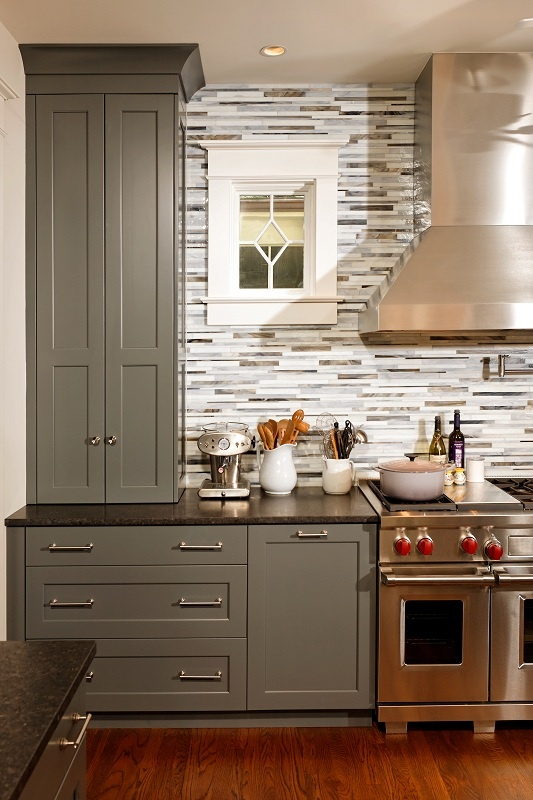 gray and whtie kitchen design by gilday