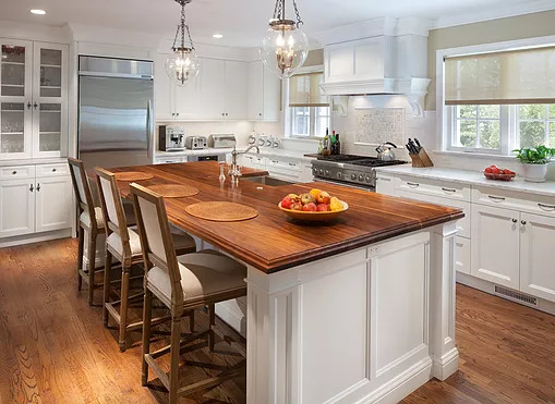 Kitchen Remodeling Wood Top Island