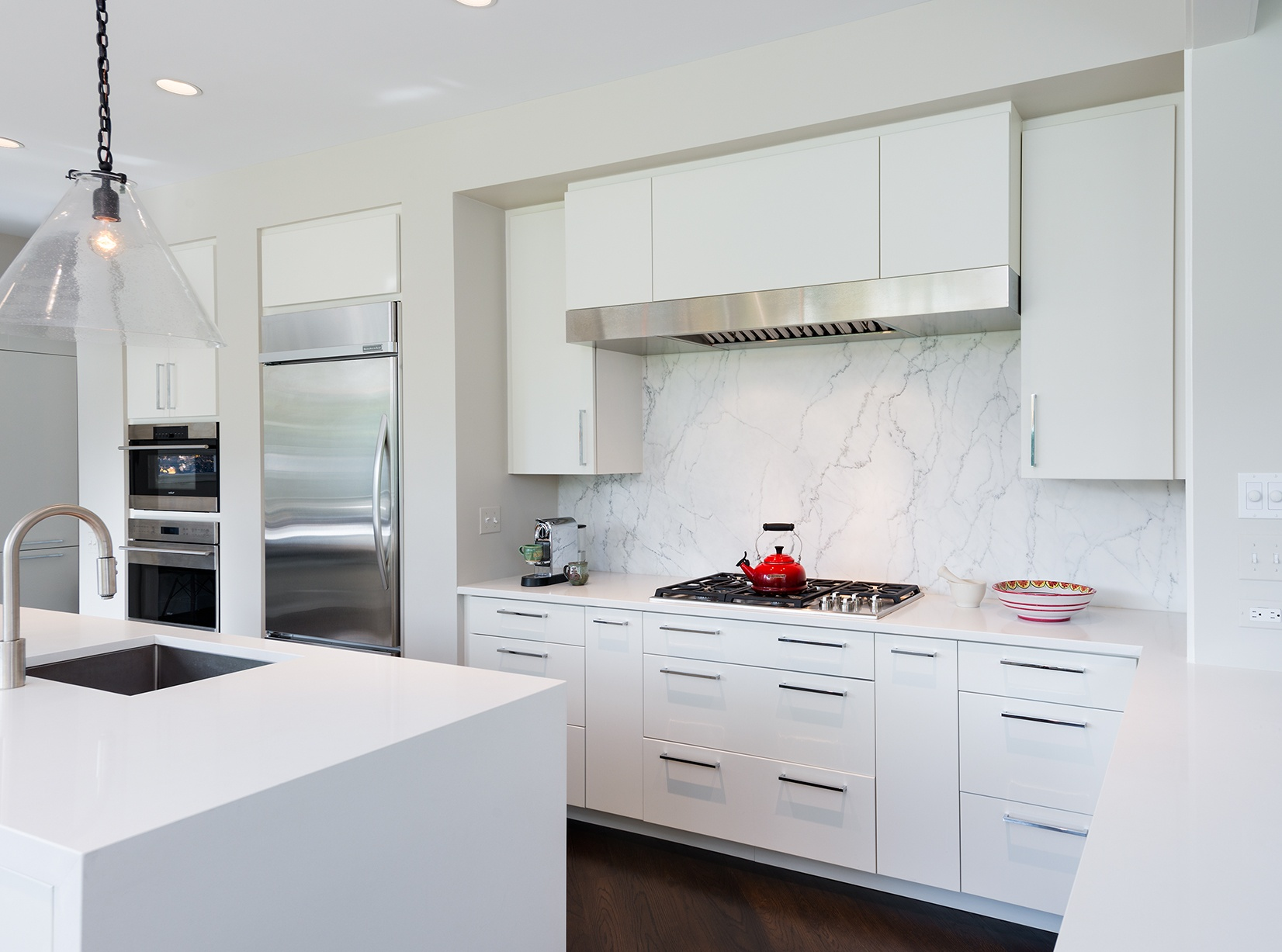 White Contemporary Kitchen Renovation in Cleveland Park