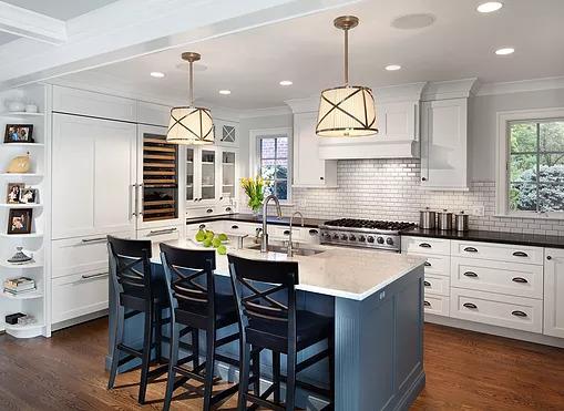 Chevy Chase White Kitchen Blue island