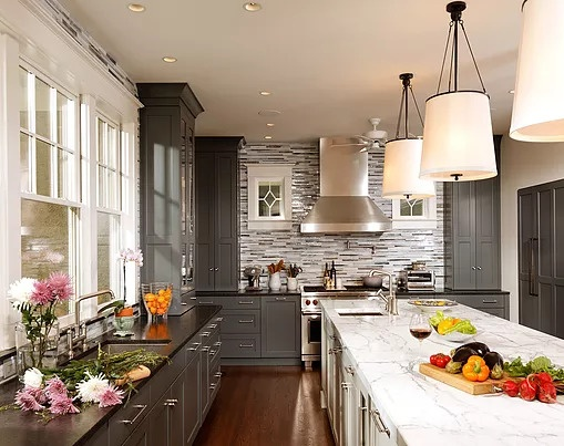 Award Winning Washington DC Gray Kitchen with Marble and Granite