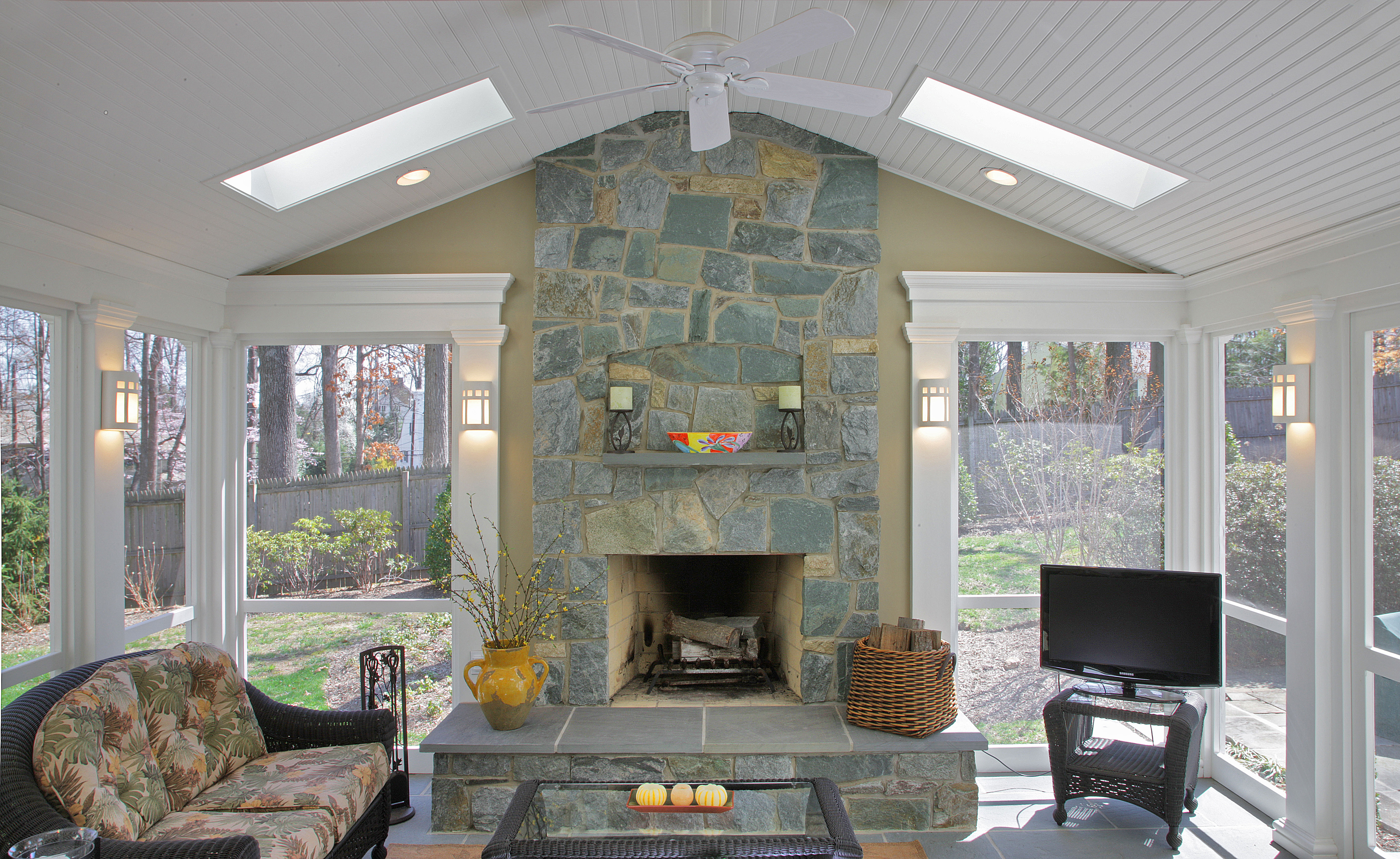 Front View of Stone Fireplace